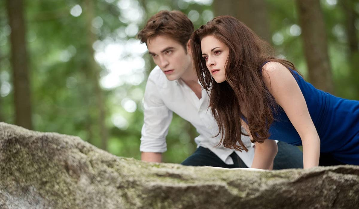 Robert Pattinson and Kristen Stewart as vampires in Breaking Dawn Part 2