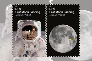 The U.S. Postal Service will commemorate the 50th anniversary of the first moon landing with a new pair of postage stamps.
