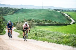 Riders on the gravel roads of Tuscany during the 2019 Nov Eroica