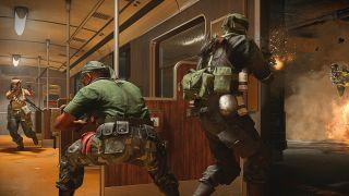 Call of duty: Warzone ak74u loadout - a group of operators battle in a U-Bahn carriage.