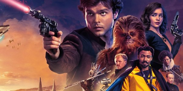 Solo: A Star Wars Story Han and Qi'ra hover over the cast, blasters in hand