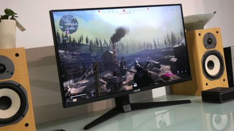 Asus TUF VG28UQL1A gaming monitor with Call of Duty Warzone on the screen