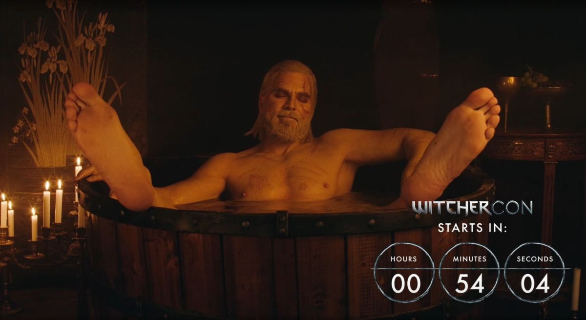 The official WitcherCon Geralt hot tub stream is incredibly chill