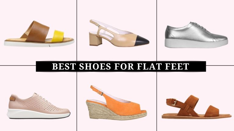collage of the best shoes for flat feet