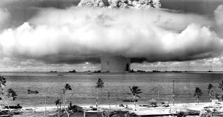 In 1946, the U.S. detonated an atomic bomb at Bikini Atoll in Micronesia, becoming the first underwater test of the device.