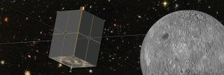 An artist's depiction of the DAPPER spacecraft in orbit around the moon.