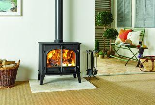 Stockton log burning stove in matt black from Stovax