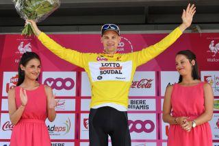 Tim Wellens on the podium at Tour de Wallonie