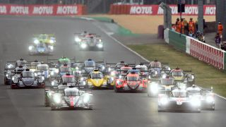 How to watch Le Mans 2021 - Image shows cars lined up the beginning of Le Mans 2020.