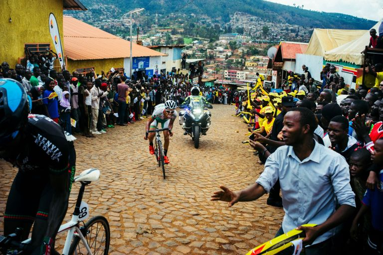 Tour of Rwanda riders tackle the Wall of Kigali