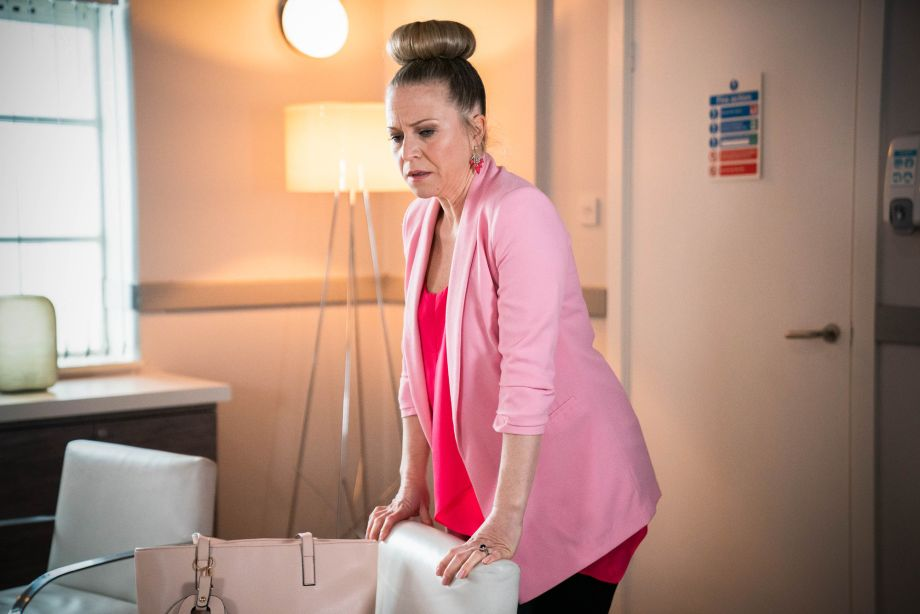 Linda Carter feels faint in EastEnders