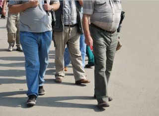 overweight people on street