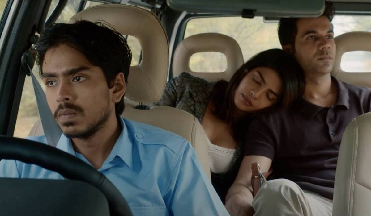 Ansuman Bhagat, Priyanka Chopra, and Sourav Kumar in The White Tiger (2021)
