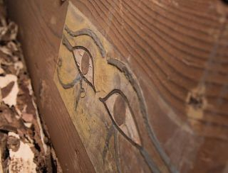Well-preserved Wadjet eyes are seen on one of the two coffins where the mummy of Shemai was discovered. He was found in an inner and outer coffin.