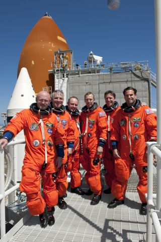 The astronauts of STS-134 came to Kennedy Space Center recently for countdown rehearsal. The real countdown for Space shuttle Endeavour is scheduled for Friday afternoon, April 29, 2011. From left, the astronauts are Commander Mark Kelly, Pilot Gregory H.
