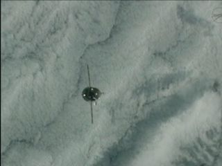 This still from a NASA broadcast shows the Russian Progress 46 spacecraft as it prepared to dock at the International Space Station on Jan. 27, 2012.