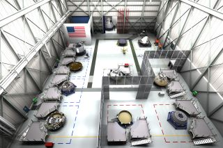 Artist's concept of the assembly facility for Boeing's CST-100