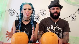 Sumo Cyco's Sever and Thor with Halloween pumpkins