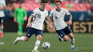 USA vs El Salvador live stream: Christian Pulisic #10 of the United States moves with the ball during the CONCACAF Nations League Championship Final