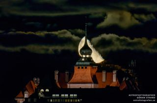 Moonrise Over City Hall of Östersund, Sweden