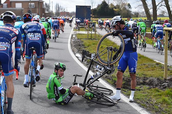 Fernando Gaviria (Etixx-QuickStep) gets tangled up at Gent-Wevelgem