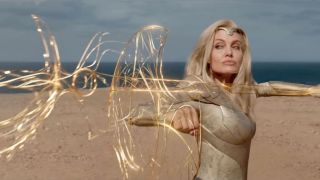 Angelina Jolie as Thena using her powers in Marvel's Eternals