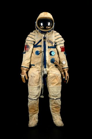 This spacesuit was worn by Russian cosmonaut Alexei Leonov during the historic Apollo-Soyuz Test Project, a joint space mission between the U.S. and Soviet Union in 1975. It is one of two spacesuits up for auction in the Bonhams Space History Sale in New
