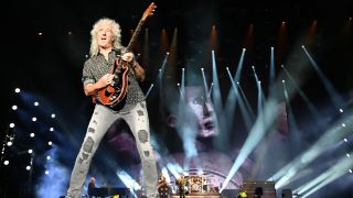 Brian May and Queen and Adam Lambert perform at the Fire Fight Australia, a concert for National Bushfire Relief in Sydney on February 16, 2020. - More than 24 acts are performing at the nine-hour fundraising concert for victims of the recent bushfires in Australia.
