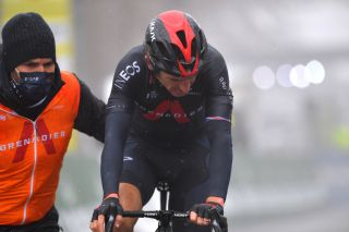 THYON 2000 LES COLLONS SWITZERLAND MAY 01 Geraint Thomas of The United Kingdom and Team INEOS Grenadiers disappointment at arrival after crash during the 74th Tour De Romandie 2021 Stage 4 a 1613km stage from Sion to Thyon 2000 Les Collons 2076m TDR2021 TDRnonstop UCIworldtour on May 01 2021 in Thyon 2000 Les Collons Switzerland Photo by Luc ClaessenGetty Images
