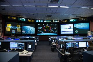The space station flight control room at NASA's Johnson Space Center.