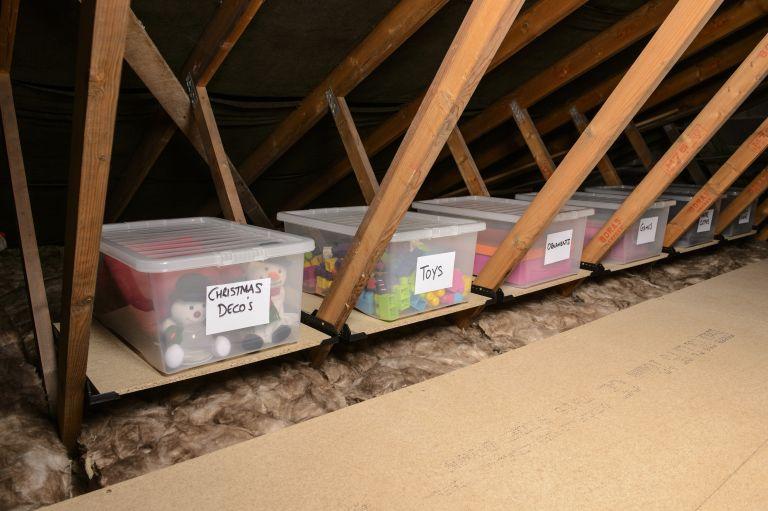 loft ledge storage in a loft