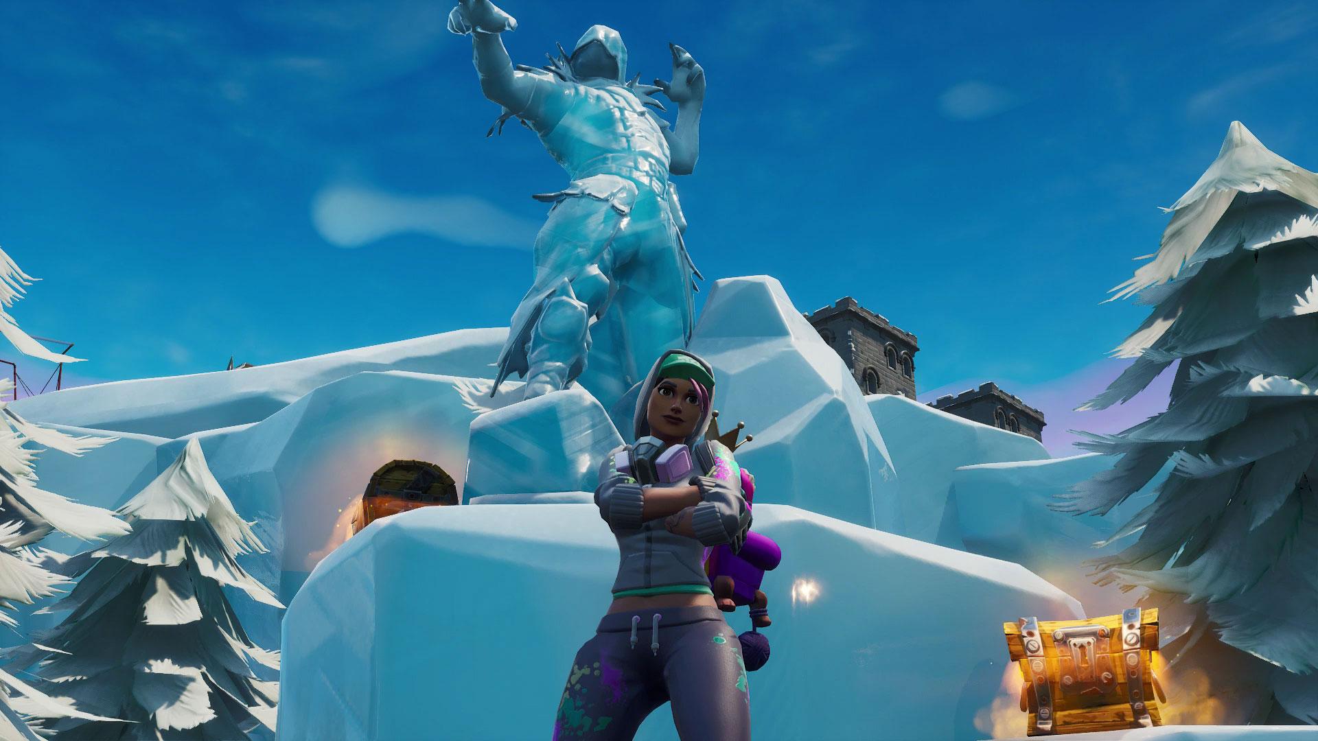 fortnite dance between three ice sculptures three dinosaurs and four hotsprings gamesradar - dance between three ice sculptures fortnite season 8