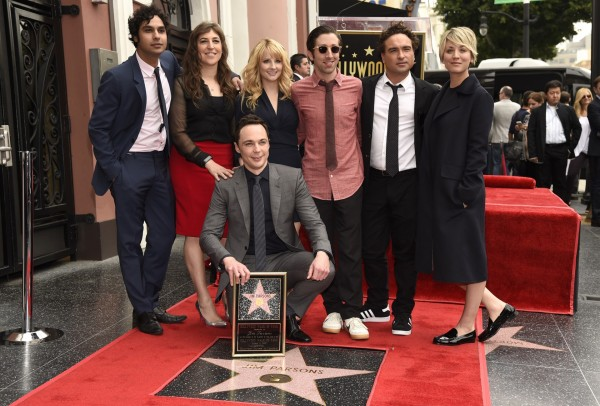 Jim Parsons with his Big Bang co-stars (Chris Pizzello/Invision/AP)