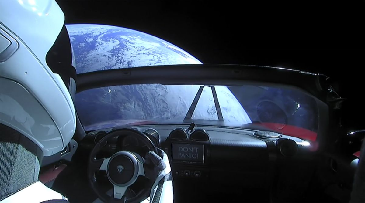 'Starman' just zipped past Mars in his rapidly-decaying Tesla Roadster