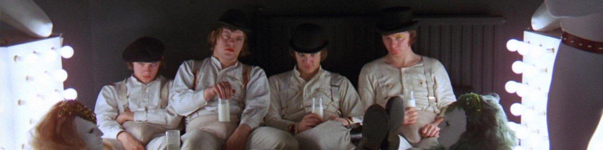 The Droogs in the milk bar in A Clockwork Orange