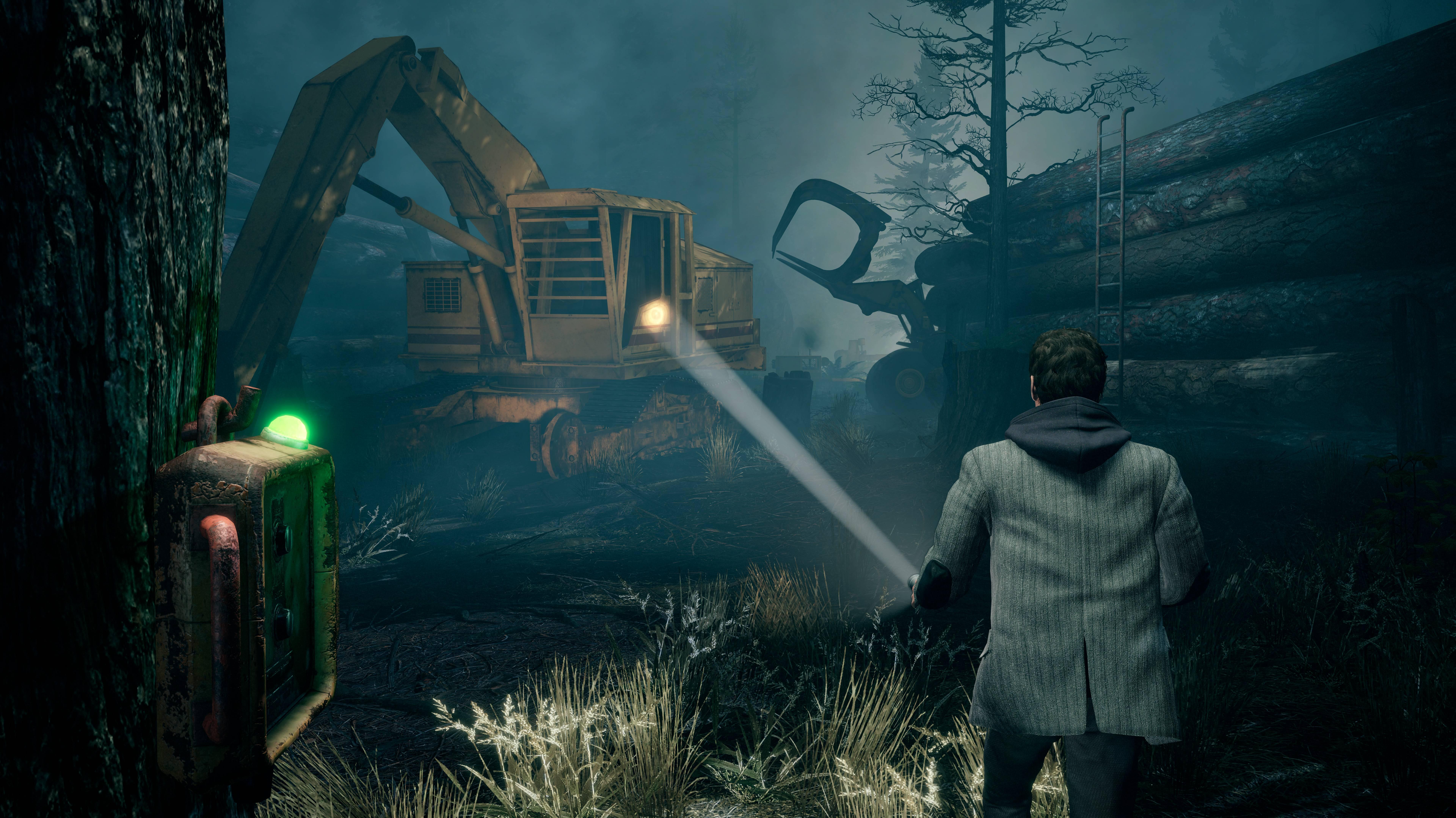 Alan Wake shining his flashlight on a possessed digger in Alan Wake Remastered
