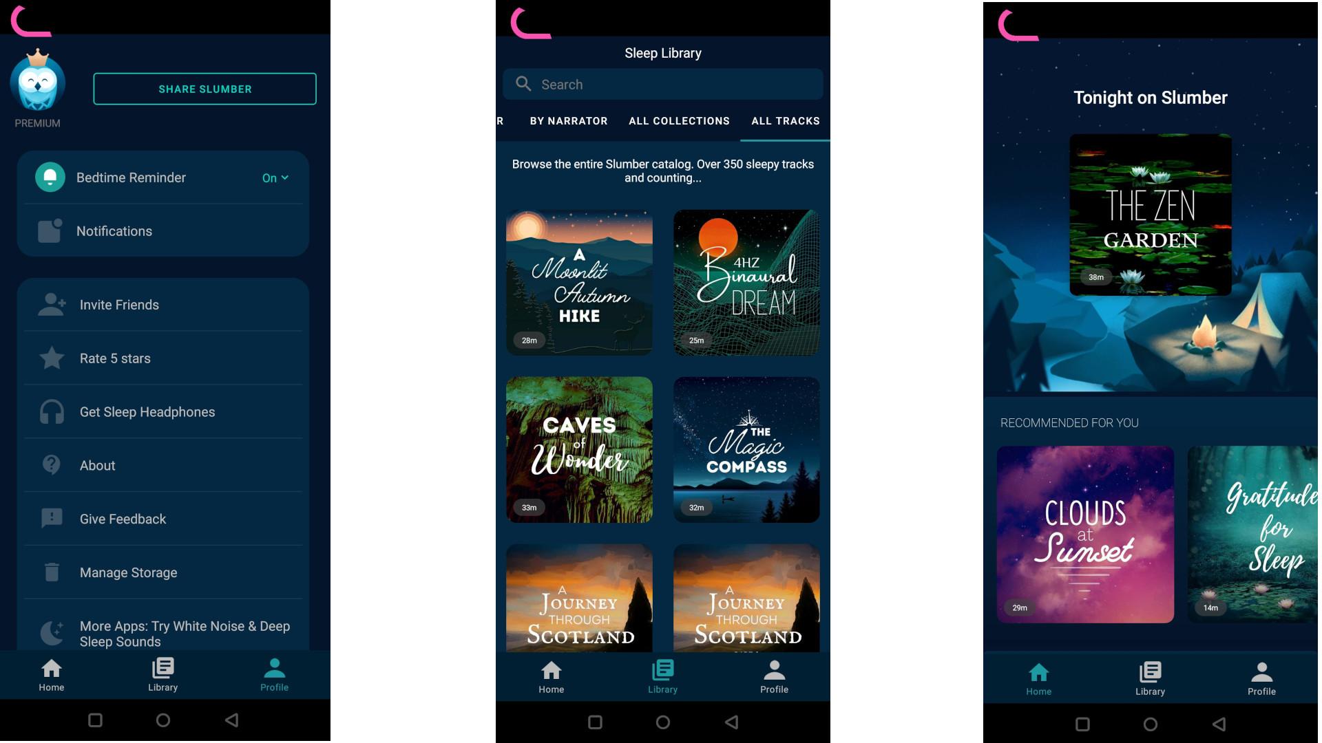 Screengrabs from the Slumber app