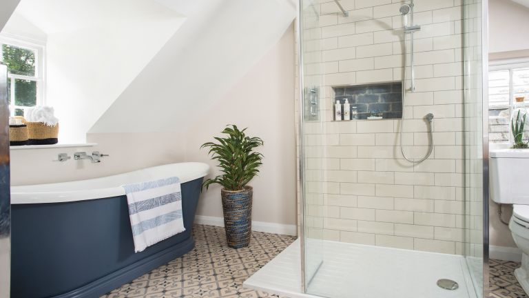 Charlie Gooch has used the loft conversion to create a dream bathroom