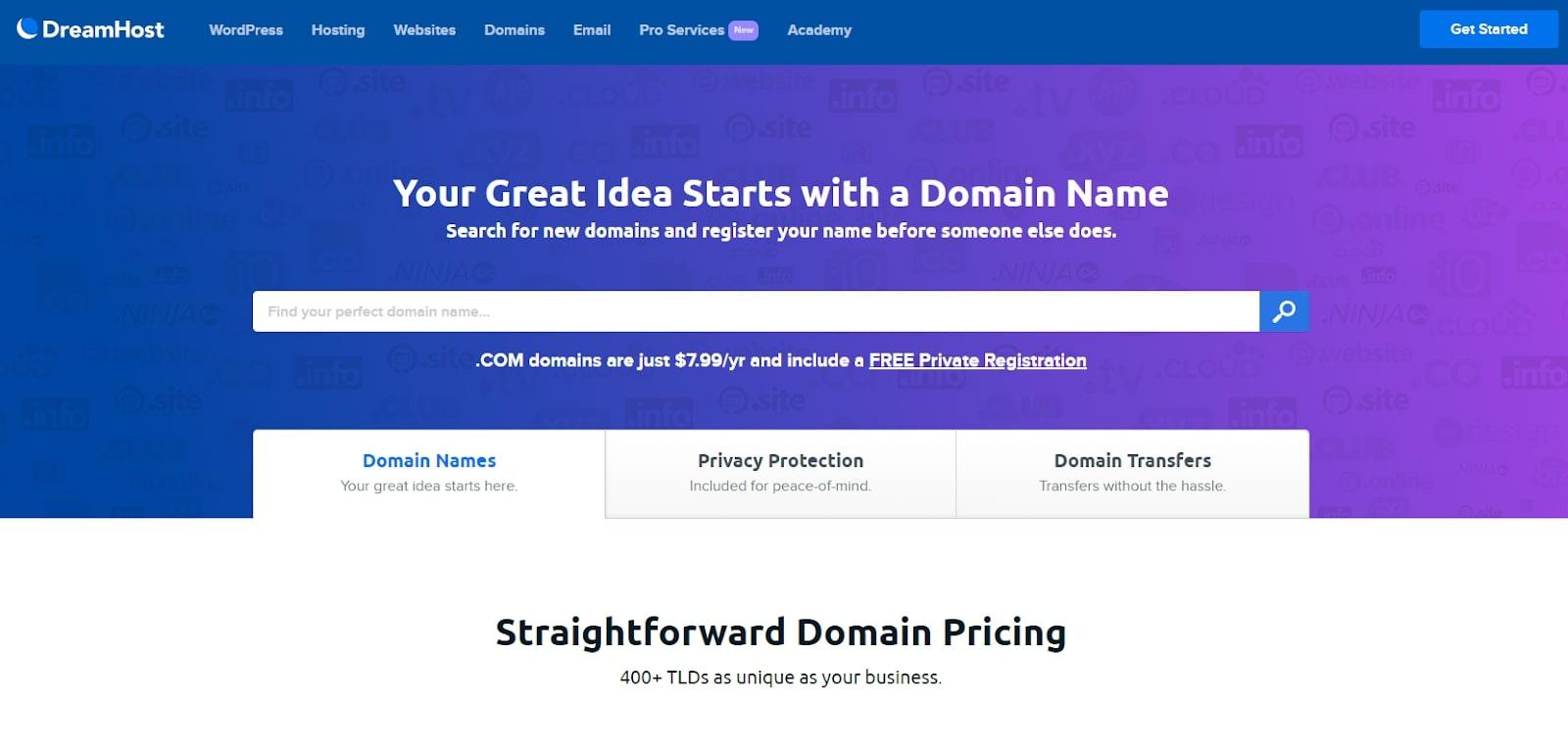 Site Web de DreamHost pour le portail d'enregistrement de domaine