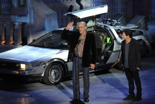 back to the future car and Michael J Fox