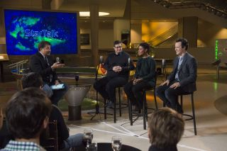 Neil deGrasse Tyson and (from L-R) Eugene Mirman, Alondra Nelson, Clive Thompson on the set of StarTalk, premiering in April on National Geographic Channel.