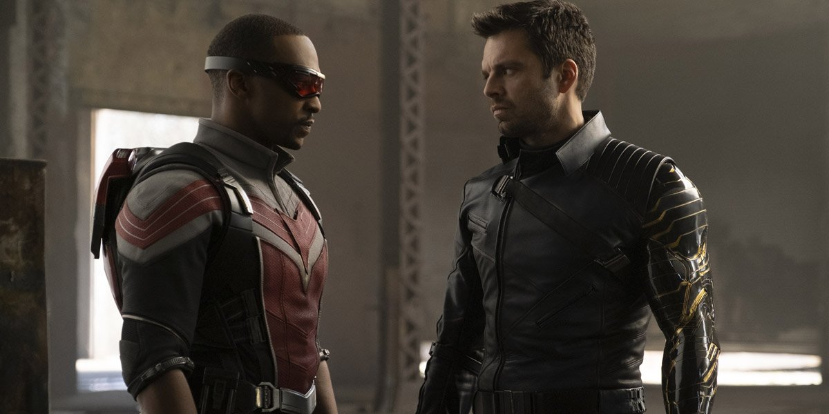 Sam Wilson/Falcon (Anthony Mackie) with The Winter Soldier (Sebastian Stan) in full costume in The Falcon And The Winter Soldier