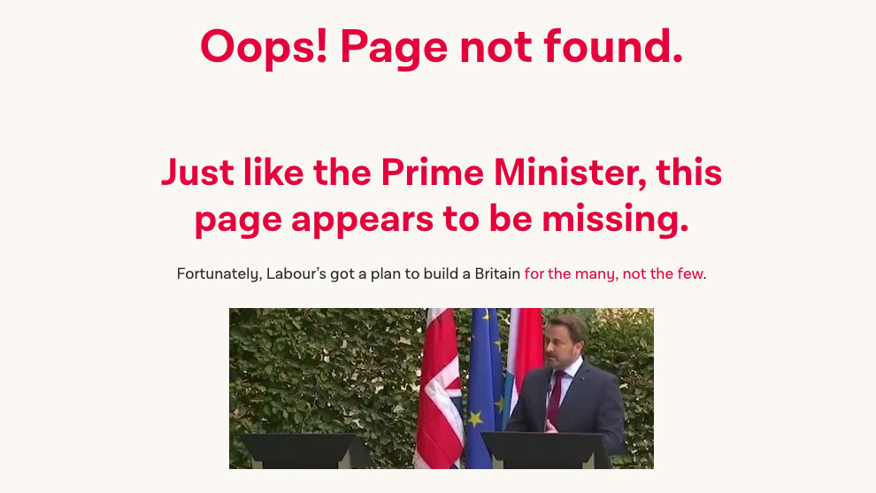 Web design turns nasty in Labour's snarky 404 page | Creative Bloq