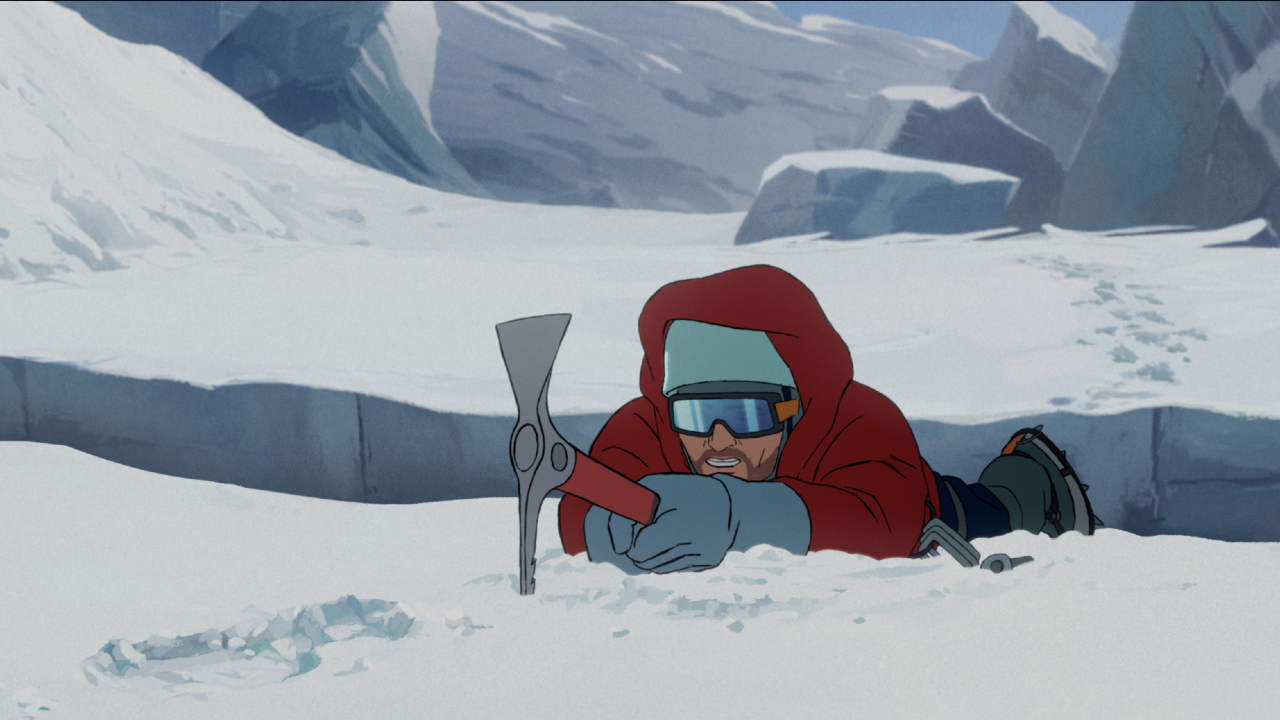 A man holds onto a pick axe, trying not to fall into a crevasse in The Summit of the Gods.