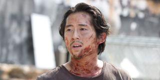 steven yeun glenn covered in blood the walking dead