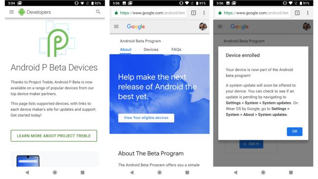 download Android P beta