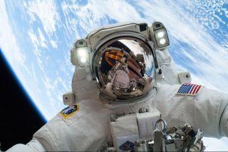 NASA astronaut Mike Hopkins on a spacewalk in 2013.