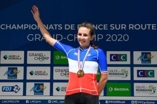 Juliette Labous waves to the crowd after winning the French Elite time trial championship between Locmine and Grand Champ 284km western France on August 21 2020 Photo by Damien MEYER AFP Photo by DAMIEN MEYERAFP via Getty Images