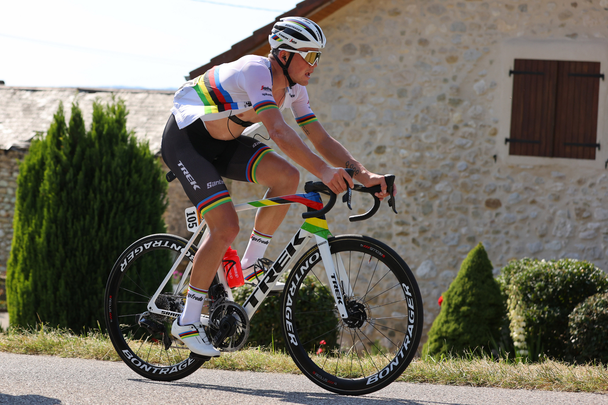 Road race champion Mads Pedersen (Trek-Segafredo) at the 2020 Tour de France – his last race in the rainbow jersey