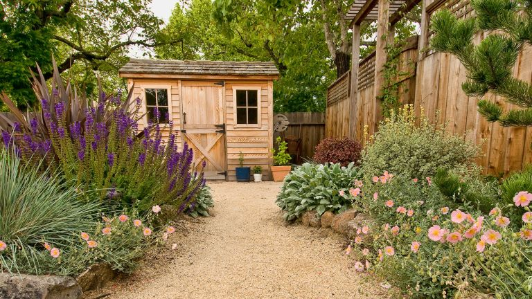 shed ideas: wooden shed at end of gravel path